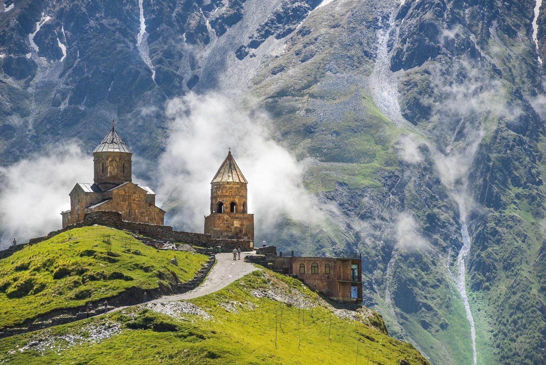 Gergeti Trinity Church with a backdrop of Mt.Kazbegi