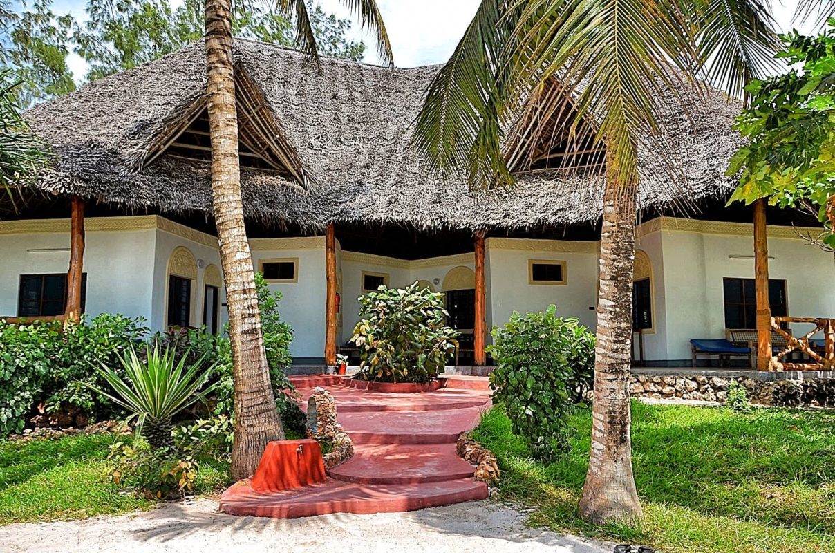 beach cottages at Pongwe Beach Hotel