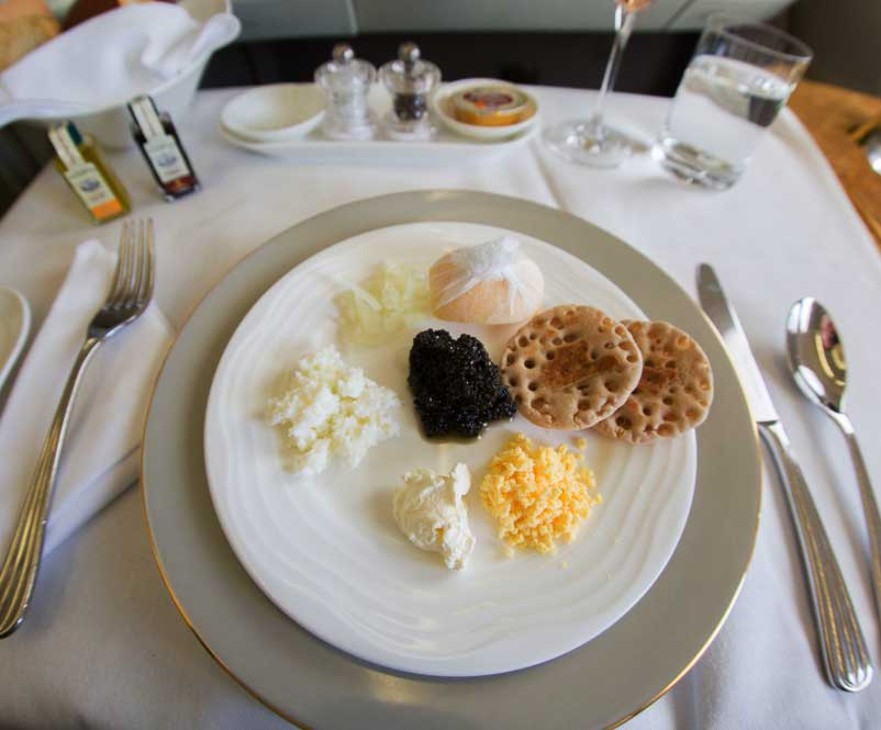 Caviar is served on EMIRATES FIRST CLASS