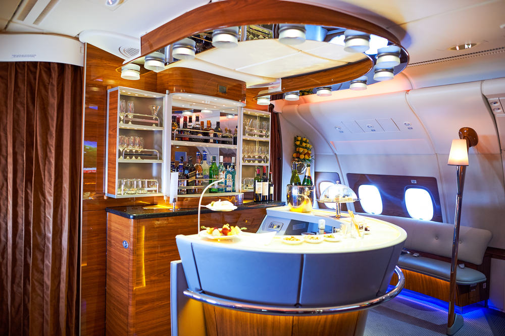 The horse shoe lounge on Emirates Airlines