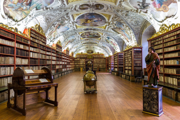 Baroque library hall in Prague
