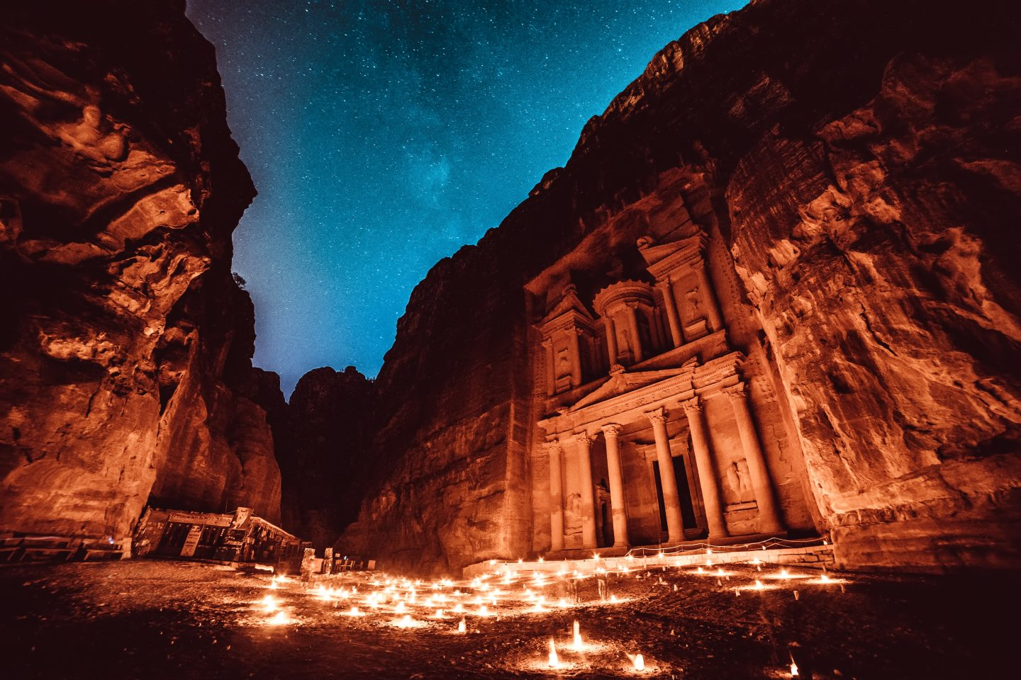 Petra By Night under a starry sky.