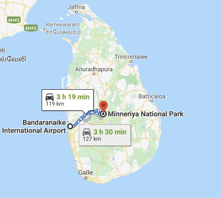 Colombo International Airport to Minneriya National Park Route Map Sri Lanka