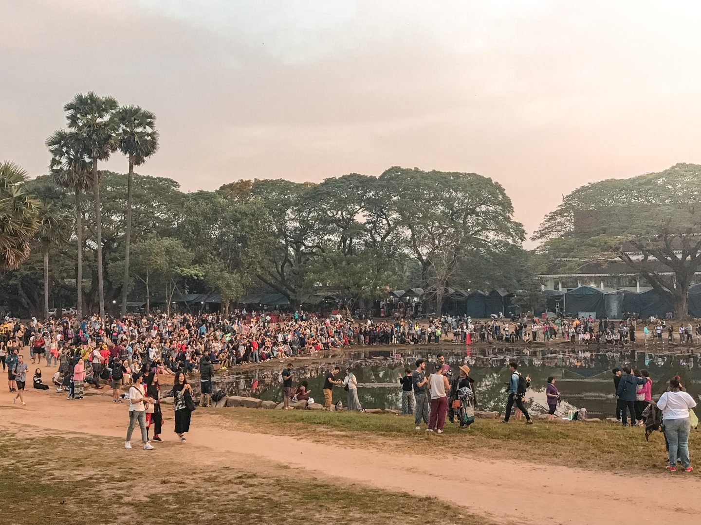 Crowds gathered to see sunrise at Angkor Wat
