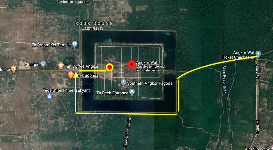 Map to the best sunrise spot at Angkor Wat